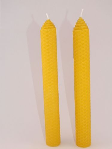 2 Handmade Pure Beeswax Pillar Candles 8in x 1in (Free Shipping UK)